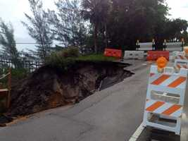 Terri Parker found a huge sinkhole on Indian River Drive in St. Lucie County.