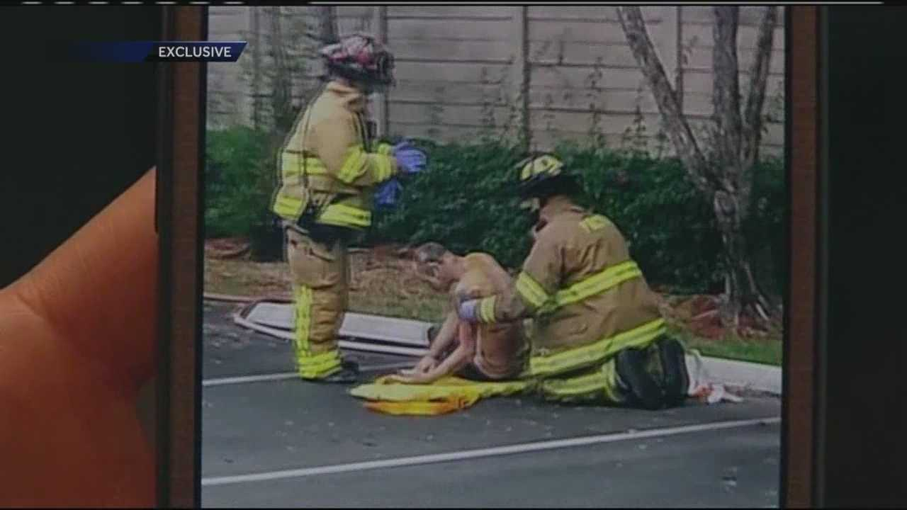 A homeless man is airlifted to Delray Medical Center after being burned in a brush fire.