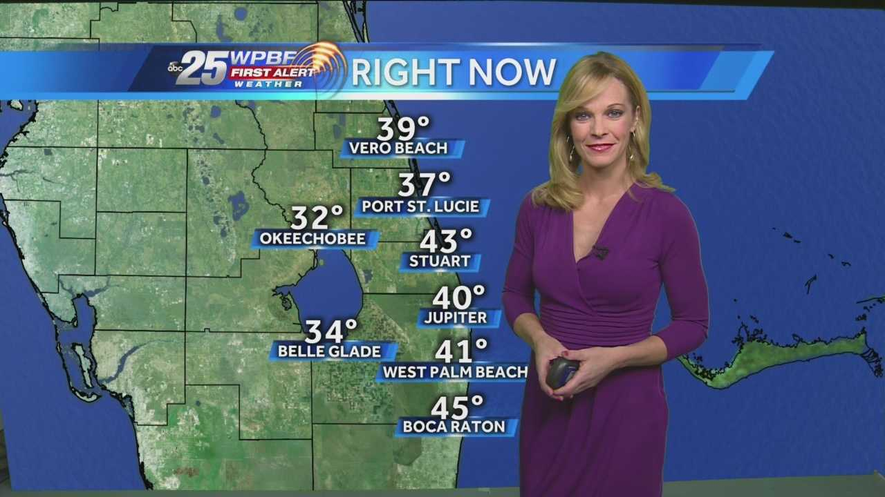 After the near-freeze early Thursday morning, Sandra says partly cloudy skies and high temperatures in the 60s are expected.