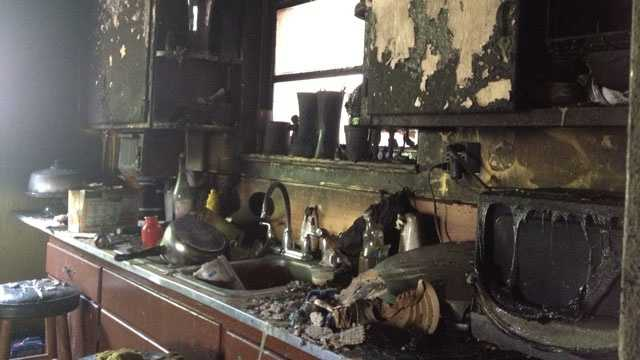 This is all that remains of the kitchen after a fire at Larry Nicholson's West Palm Beach house on 50th Street.