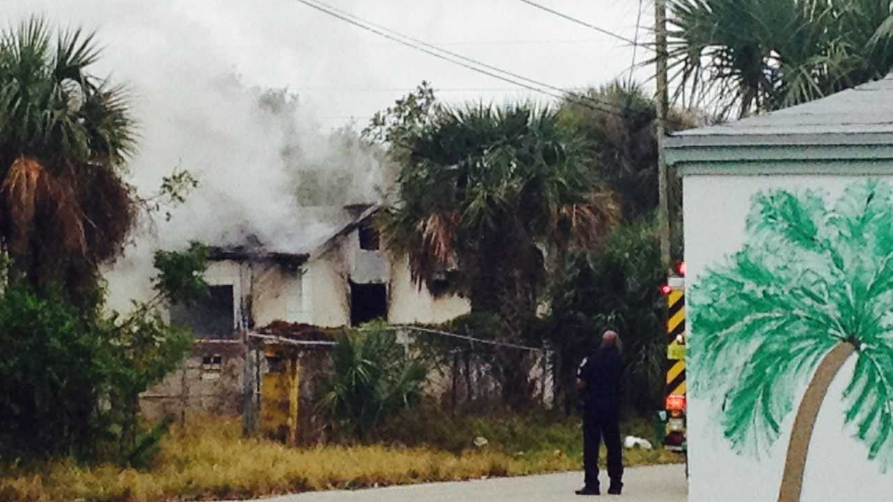 An abandoned house catches fire in Riviera Beach.