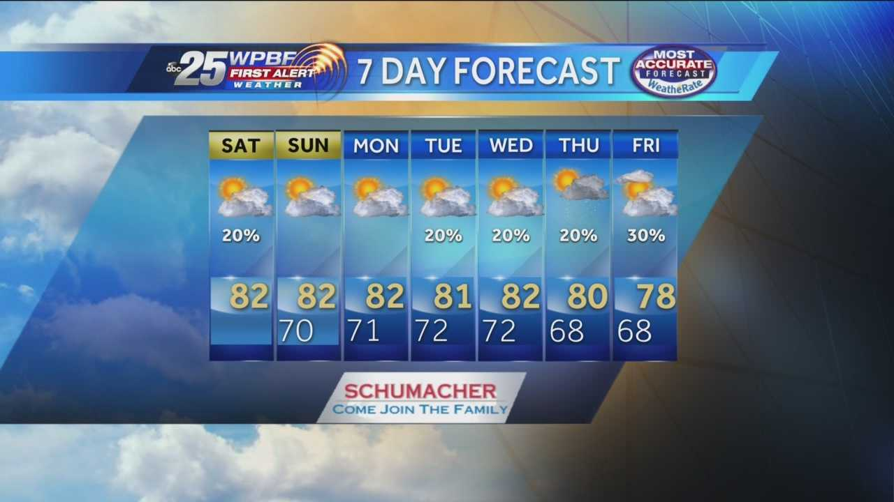 Justin says a pleasant weekend is expected around the Palm Beaches and Treasure Coast.