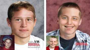 Mark Degner & Bryan Hayes, ages now 21, 22: Missing from Jacksonville. Mark's photo is shown age-progressed to 17 years. He was last seen on February 10, 2005. He may be in the company of Bryan Hayes whose photo is shown age-progressed to 18 years. They may still be in the local area. Bryan has a scar on the left side of his torso.