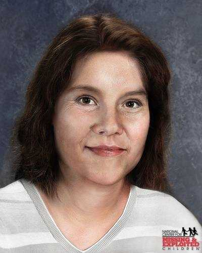 Tinze Huels, age now 46: Missing from Tampa. Tinze's photo is shown age-progressed to 43 years. She left home to go to a laundromat and her car was later found at a parking lot. Two weeks later, her purse was found at a campground and only her keys were missing. She has a circular-shaped burn scar on her left leg. She has been missing since Oct. 27, 1984.