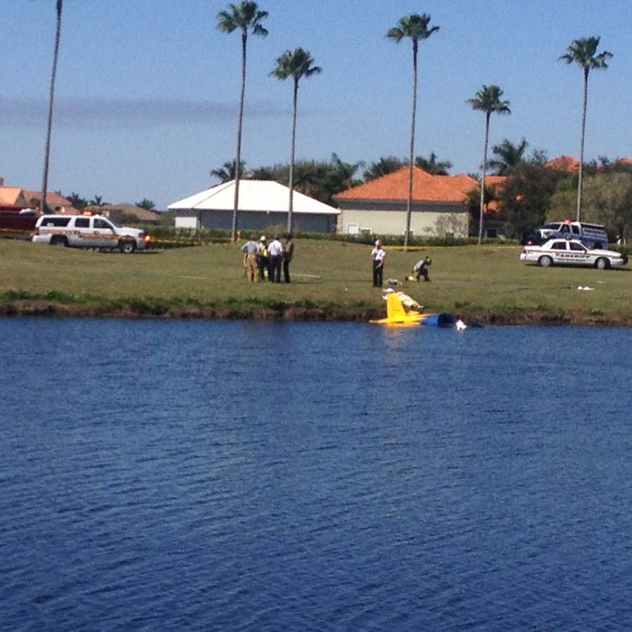 A small plane crashes into a lake in Palm Beach County.