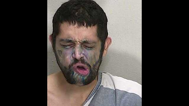 Anthony Cifuentes was arrested while wearing blue face paint in Marion County on Friday.