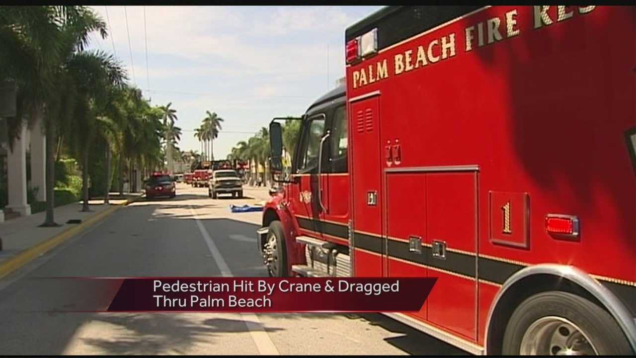 A police official told reporters what happened on Palm Beach when a mobile crane struck, dragged and killed a pedestrian Tuesday morning.