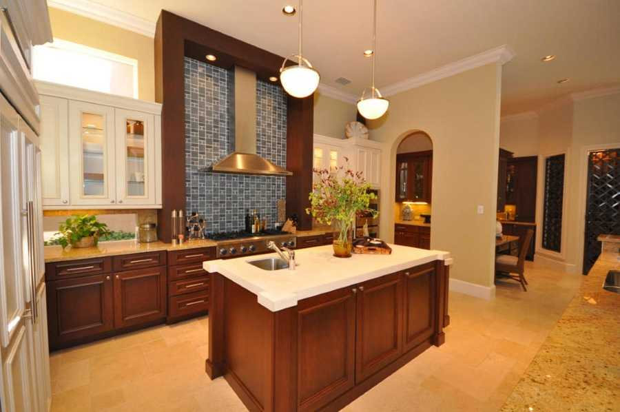 Large walk in pantry with built in refrigerator.
