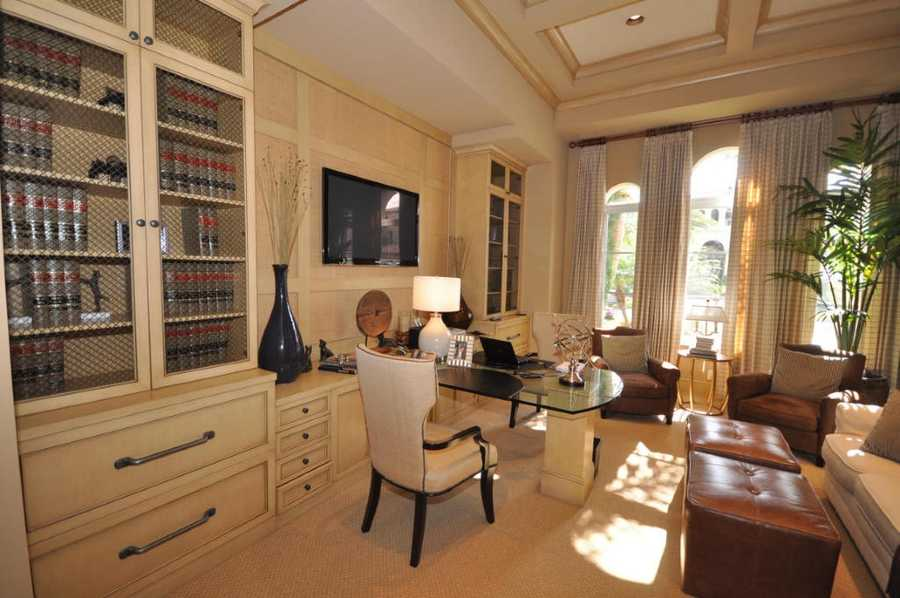 Antique and contemporary touches in this sophisticated home office.