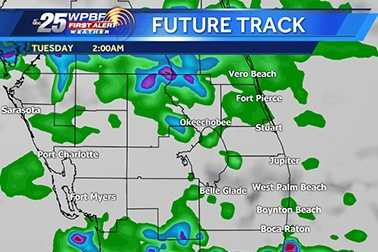 Wet weather is expected on-and-off throughout into Tuesday morning. View our hourly Future Track to see when showers might reach your area.