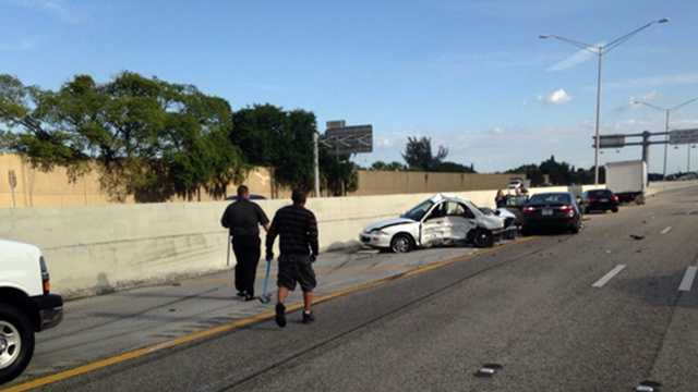 One person was killed in a crash on I-95 near Northlake Boulevard on Thursday morning.
