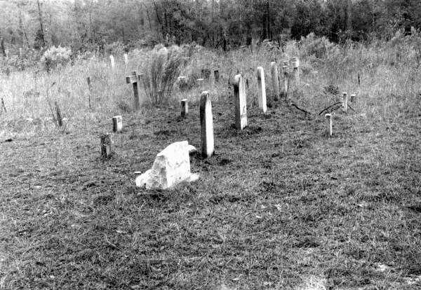Cemetery of abandoned town, Varnom, Florida. (1973)