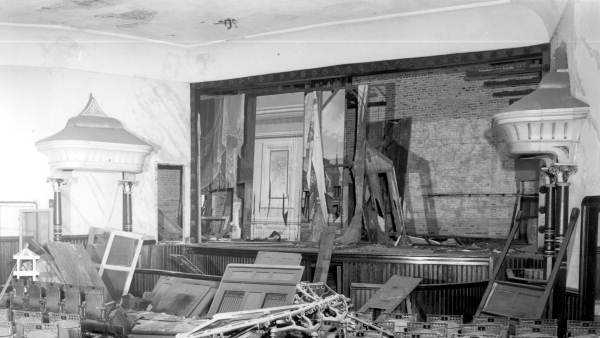 Interior view of an abandoned opera house in Monticello, Florida. (1956)