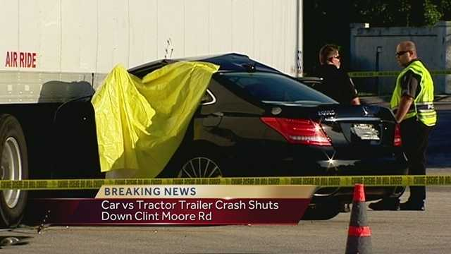 One person was killed in a crash involving a car and a tractor-trailer in Boca Raton on Monday morning.