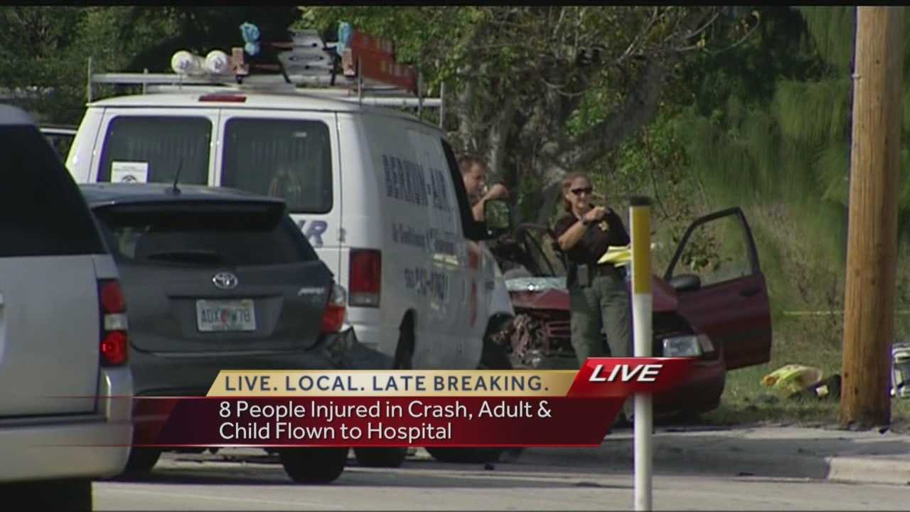 Eight people were injured in a rush-hour crash near a daycare center in Palm Springs on Monday afternoon.