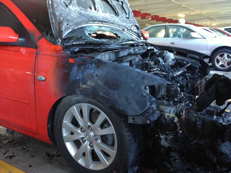 MAY 5: The owner of this car was just two payments away from paying it off when it caught fire Monday morning in a parking garage at Bethesda Hospital in Boynton Beach.