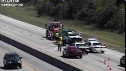 One southbound lane of Florida's Turnpike is blocked, with congestion stretching to Fort Pierce.