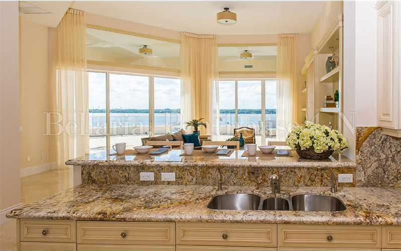 The kitchen also looks out over the ocean as well.