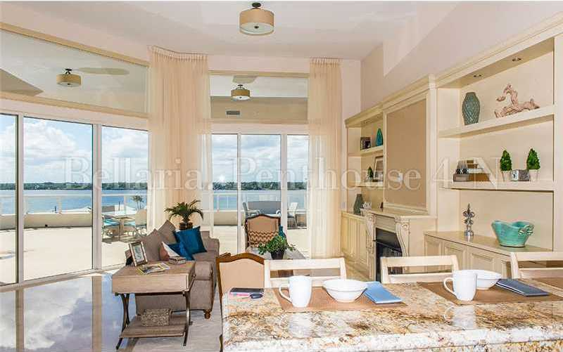 Through the floor-to-ceilings windows, you can see how expansive the balcony is.