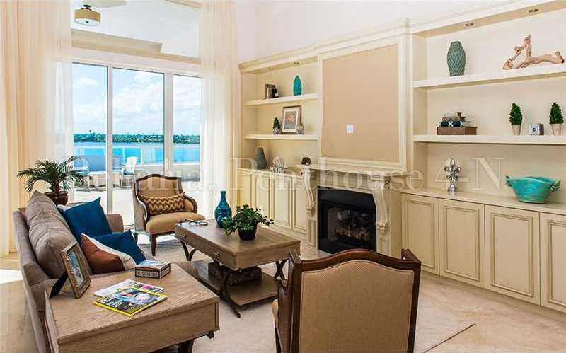 The family room also features a custom entertainment unit.