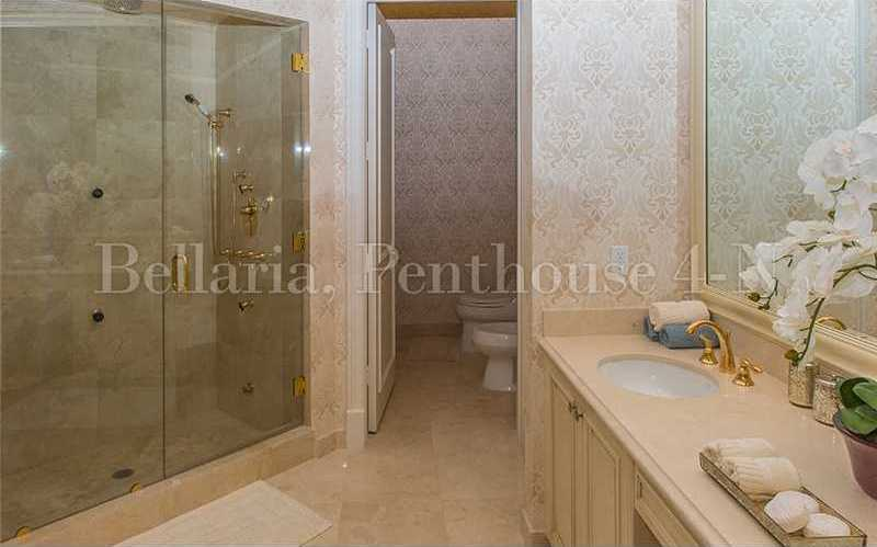 The luxurious step-in shower is accompanied by a private restroom area.