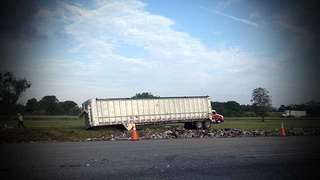 MAY 12: A tractor trailer hauling trash was involved in an accident that caused traffic problems for Turnpike commuters Monday morning.