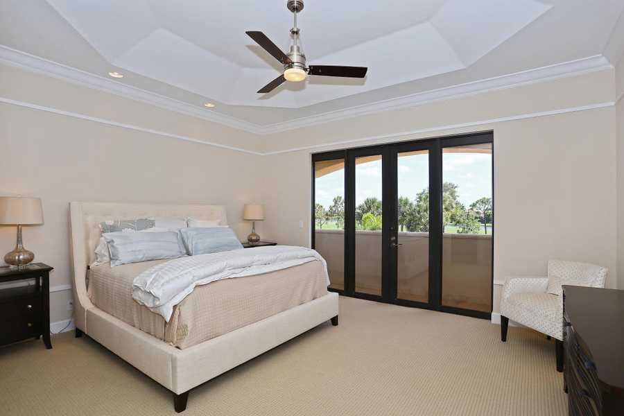 The decor in the master suite is chic and minimalists.
