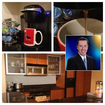 And here's Chris McGrath's kitchen. You know a morning reporter can't survive without coffee!