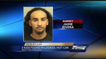 Jaime Rivera was arrested after police say he left his three young children locked inside a hot car.