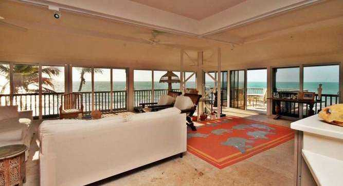 The two homes on the island offer spectacular views of the ocean.