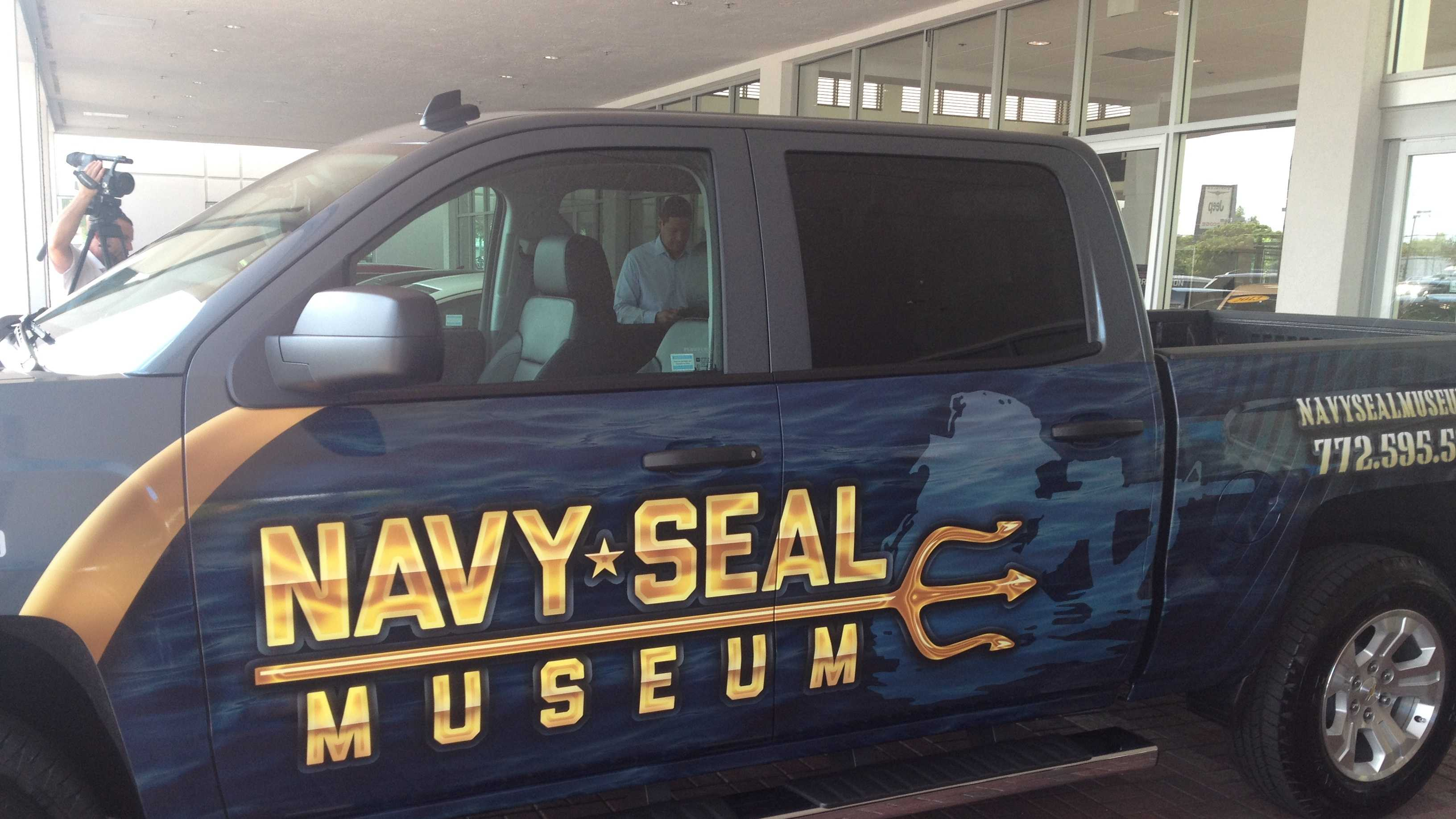 The 2014 Silvarado truck donated to the Navy Seal Museum and Trident house in West Palm Beach, donated by the Schumacher Auto Group.