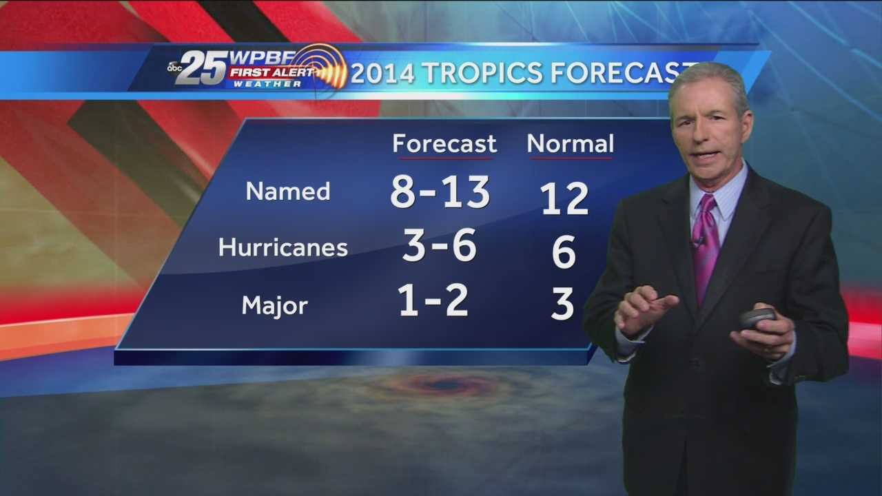WPBF chief meteorologist Mike Lyons discusses the newly released hurricane forecast predictions for the 2014 Atlantic hurricane season.