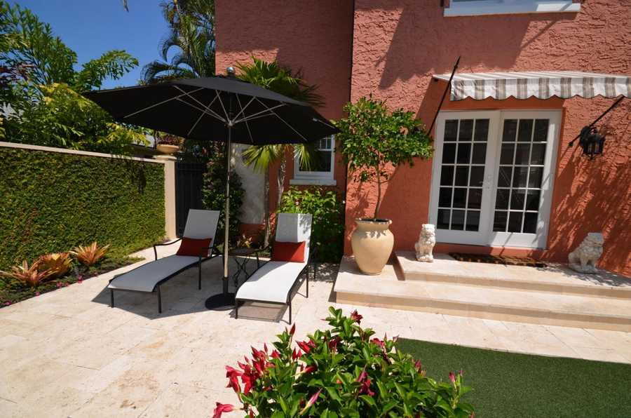 The courtyard is meticulously maintained and private.
