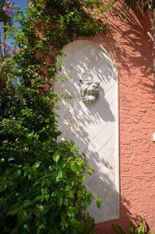 Tasteful features add to the courtyard's beauty.