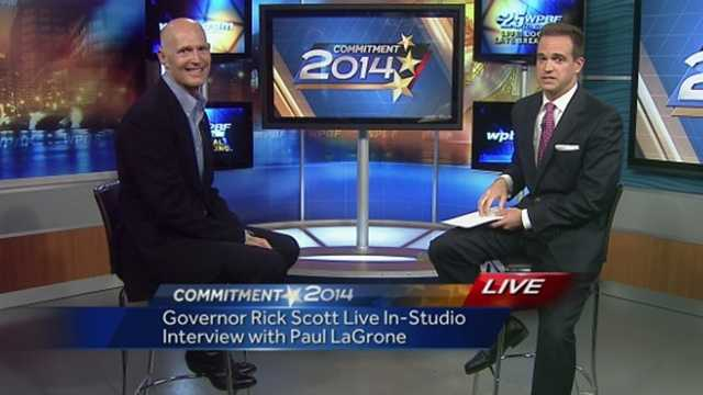 Gov. Scott visited the WPBF 25 News studios early Wednesday and answered a range of questions from our Paul Lagrone.