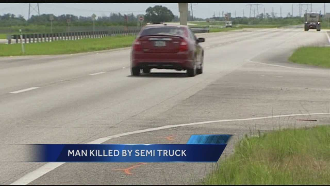 One pedestrian was killed after being struck by a tractor trailer in Fort Pierce on Monday night.