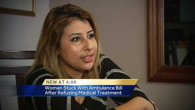A local woman doesn't want to pay for two recent ambulance rides to a hospital because she says she didn't need them.