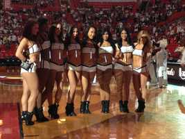 JUNE 5: The Miami Heat cheerleaders pose for photos at American Airlines Arena on Thursday night. Heat fans packed the building to watch Game 1 on the big screens. Miami lost at San Antonio, 110-95.