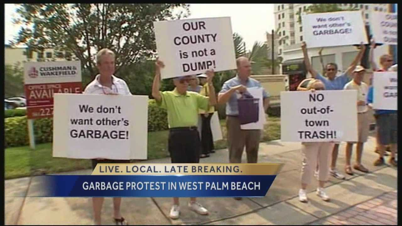 Dozens of people with signs representing hundreds more protested outside the city commission headquarters Monday, hoping to sway commissioners to vote against a plan to allow other counties and states to bring their trash here to the Palm Beach County landfill, which authorities say will bring in profit.