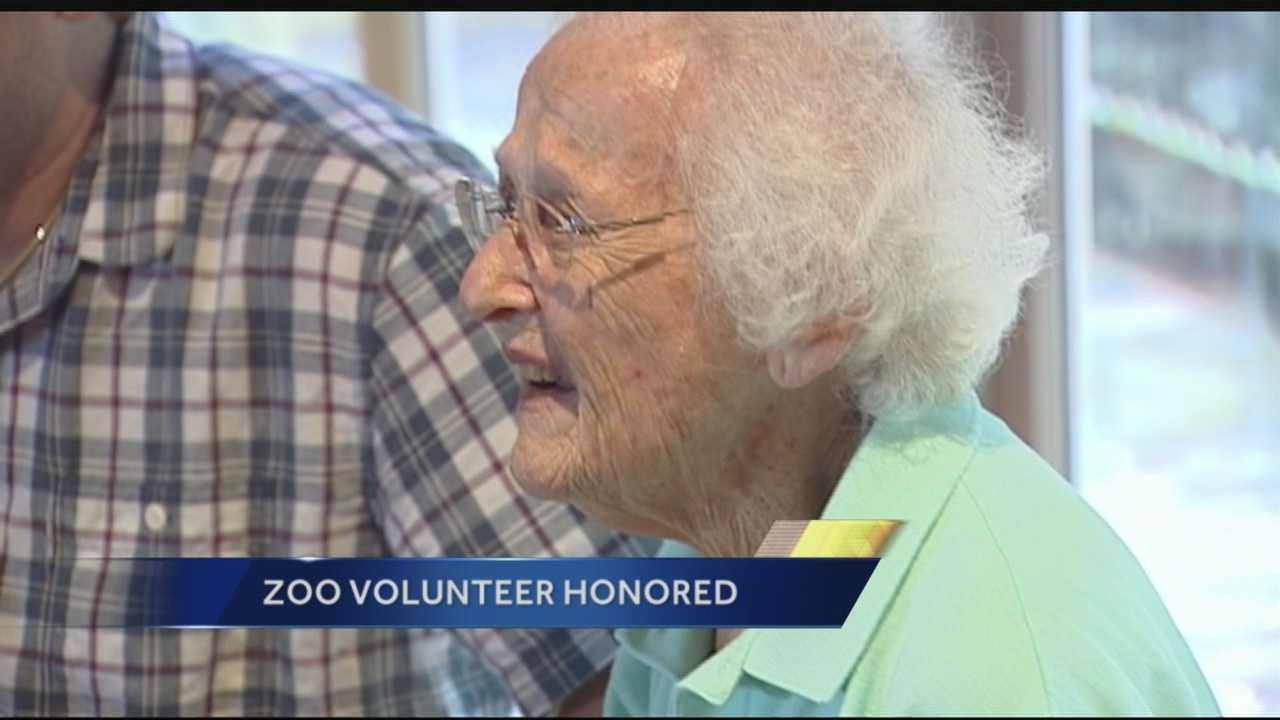 About 50 employees and friends honored 99-year-old Esther Bondareff with a special ceremony at the Palm Beach Zoo Wednesday. Bondareff has volunteered at the zoo for over two decades.