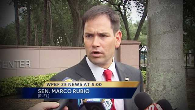 Marco Rubio was in Palm Beach County on Friday, touring the V.A. hospital and weighing in on President Obama and Iraq.
