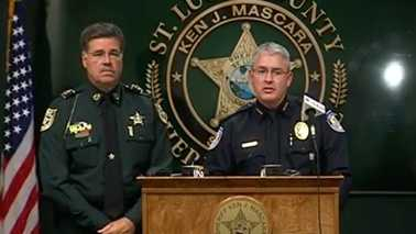 "Sheriff Ken J. Mascara and Fort Pierce Police Chief R. Sean Baldwin discuss ""Operation Spot Remover"" during a news conference Wednesday."