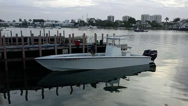 Alexander Ramer is facing charges of felony criminal mischief after police say he was caught on surveillance dumping bleach into pens of bait fish. Ramer's boat (pictured here) was also seized by Boynton Beach Police.