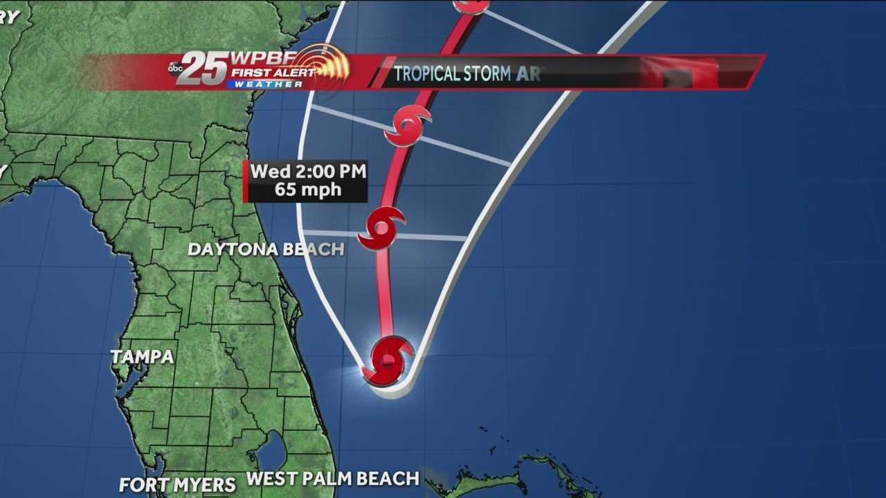 Latest track for Tropical Storm Arthur
