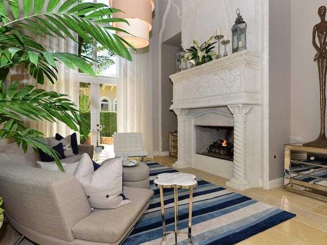 Elegant fireplace in the formal living room.