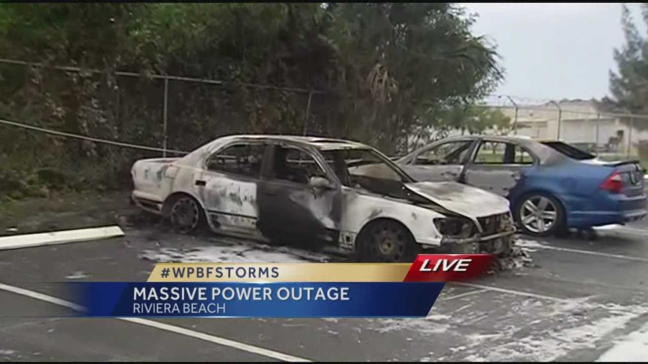 A man's brand new car caught fire Wednesday afternoon after strong storms brought severe lightning that struck nearby power lines next to two parked vehicles. Randy Gyllenhaal has the story.