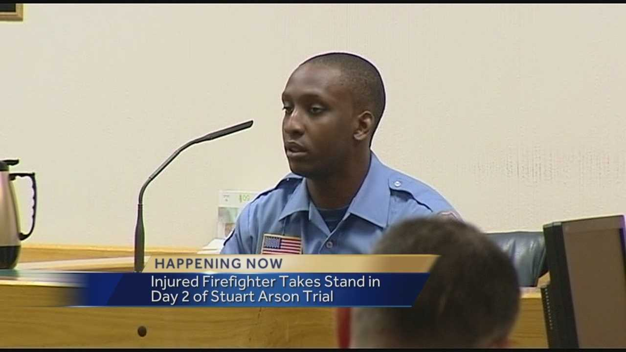 Injured firefighter Jahwann McIntyre took the stand in day two of the arson trial.