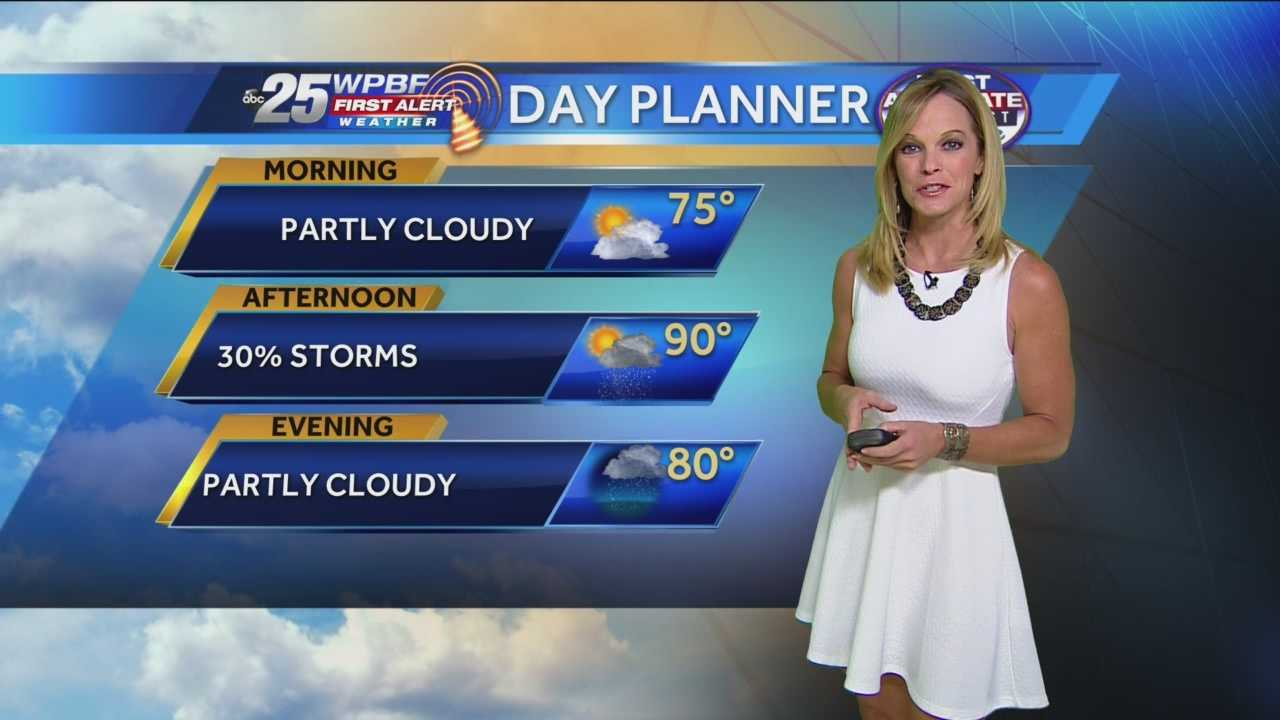 Mostly sunny Monday, small chance of passing showers