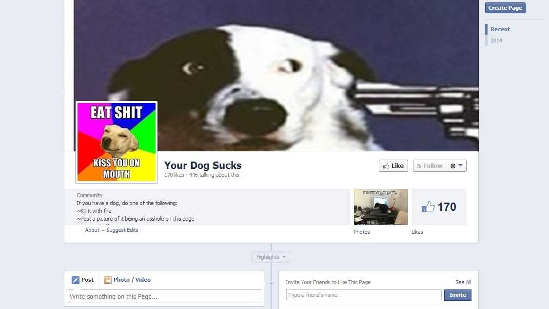 "A controversial Facebook page titled ""Your Dog Sucks"" sparked outrage among animal lovers and was petitioned by hundreds to have Facebook remove the page."