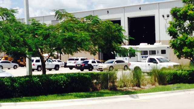 A photo from the scene at the Solid Waste Authority Recycling plant where a body was found by workers Friday, according to West Palm Beach police.